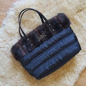 ♤ Kate Spade Nylon Winter Purse with Faux Fur Trim